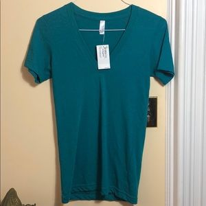 NWT Teal American Apparel V-Neck